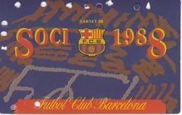 CARNET DE SOCIO DEL FUTBOL CLUB BARCELONA DEL AÑO 1988 - ANUAL (BARÇA) - Sin Clasificación