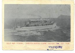 Tematica Navi N.L.G. Motonave Italia Diretto Napoli Capri Con Pubblicità Non Viaggiata Segni E Tagli Condizioni Come Da - Veerboten