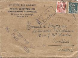 10c Orange N° 722 + 2F Vert N°713 RECOMMANDE PARIS VII 29 3 1946 Ministère Des Colonies - 1945-54 Marianne De Gandon