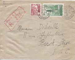 Gandon 3.50F N° 716B + Beffroi D'Arras N° 567 RECOMMANDE PROVISOIRE PARIS 67 Rue Des Abbesses 18 4 1947 - France