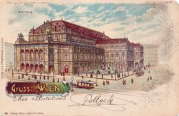 ALTE  Litho- AK  WIEN / Ö - Halt Gegen Das Licht AK !!! / Opernhaus In Wien - Gelaufen 1900 - Controluce