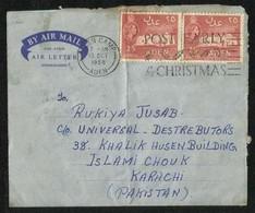 Aden 1958 Air Mail Postal Used Aerogramme Christmas Slogan Postmark Aden To Pakistan - Aden (1854-1963)