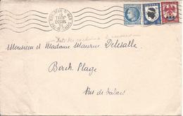 MONTREUIL SUR MER 16 7  ?? DATEUR MONTE A L'ENVERS + ERREUR ANNEE Cérès De Mazelin Blason Corse Et Nice - Marcophilie (Lettres)