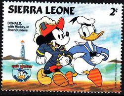 Sierra Leona 1984 Scott 658 Sello ** Walt Disney 50 Anniv. De Donald Con Mickey En Boat Builders 2c Sierra Leone Stamps - Disney