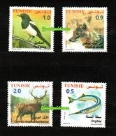 2018- Tunisia- Terrestrial And Maritime Fauna From Tunisia: The Garfish- The Golden Jackal- Magpie- Berber Deer-MNH** - Stamps