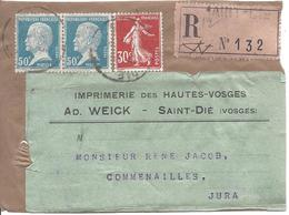 SAINT DIE  Fragment D'envoi Recommandé Tarif 1.30F Pasteur 50c En Paire Et Semeuse Camée 30c - 1922-26 Pasteur