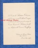Document De 1906 - Château De MOUANS SARTOUX - Mariage Mademoiselle Carmen GEOFFROY & Le Comte François De SARTOUX - Mariage