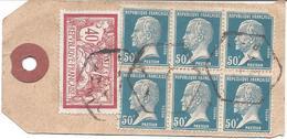 ETIQUETTE DE COLIS TARIF 3.40F DIJON Cachet Illisible Timbre Bloc De 6 Du 50c Pasteur + Merson 40c - 1922-26 Pasteur