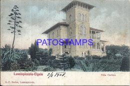 105373 CROATIA LUSSINPICCOLO CIGALE VILLA CARLINA BUILDING SPOTTED CIRCULATED TO URUGUAY POSTAL POSTCARD - Croatia