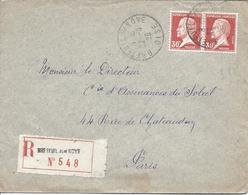 BRETEUIL SUR NOYE 22 6 1923 Timbre 30c Pasteur En Paire Pour Paris - 1922-26 Pasteur