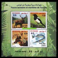 2018- Tunisie- Faune Terrestre Et Maritime De Tunisie: Le Chacal Doré - L'Orphie- La Pie- Le Cerf De Berbérie-Bloc MNH** - Stamps