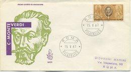 ITALIA - FDC VENETIA 1967 - CLAUDIO MONTEVERDI - MUSICA - VIAGGIATA - 6. 1946-.. Repubblica