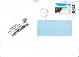 """Montimbrenligne Lettre Recommandée R1-AR Max 50 Gr """"plage Et Ciel Bleu"""" + Cachet Manuel Port-leucate Aude - France"""
