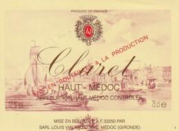 *** ETIQUETTES  ***- Appellation  BORDEAUX  CLAIRET - Haut Médoc - Bordeaux