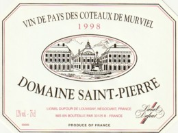 *** ETIQUETTES  ***-  Vin De Pays Des Côtes De Murviel  1998 - Domaine Saint Pierre - Rouges