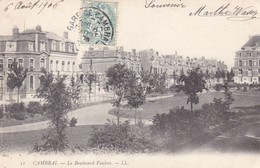Postcard Cambrai Le Boulevard Vauban LL With 1906 Gare De Cambrai Stamp Cancel My Ref  B12665 - Cambrai