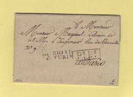 Turin - 104 - Port Paye - 1812 - Destination Paris - Departement Conquis Du Pô - Marcophilie (Lettres)