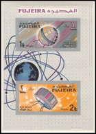 717e Fujeira MNH ** Mi Bloc N° 8 B Espace Space Research Satellites Probes Tiros Telstar Overprint Non Dentelé (imperf) - Space