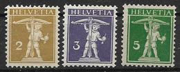 SVIZZERA  1909 WALTER TELL UNIF.128-130 MLH VF - Svizzera