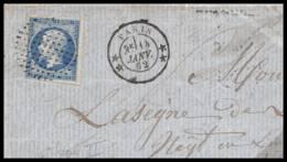 36803 N°14 Napoléon Type 2 Paris Ttb Obl Cercle De Points 1862 France Fragment - Poststempel (Briefe)