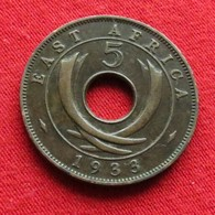 East Africa 5 Cents 1933  Africa Oriental Afrique Afrika Wºº - Monnaies