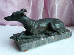Levrier Couché Bronze - XIXe - Superbe Exécution Et Patine - Bronzes