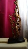 CHINE - Ningbo - éléments D'autel 2 Divinités Bois Sculpté - Cinabre Et Or XIXe - Art Asiatique