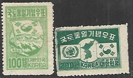 Korea  1950  Sc#120 MH & #121 Used   2016 Scott Value $6.75 - Corée Du Sud