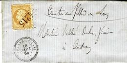 1864- Lettre De VILLARD-DE-LANS ( Isère ) Cad T22  Affr. N°21 Oblit. G C 4215 - Marcophilie (Lettres)