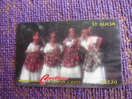 GPT Phonecard,201CSLB,women Wearing National Dress,used - Santa Lucía