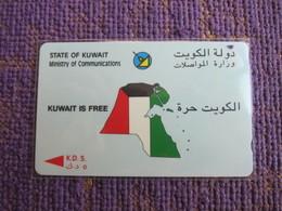 GPT Phonecard,3KWTA,Map And Flag,used - Kuwait