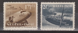 Nederlands Indie Netherlands Indies Dutch Indies 239-240 MNH ; 10 Jaar Indishe Luhtvaart 1938 - Nederlands-Indië