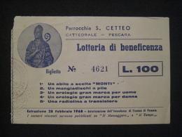 ANNO 1968 S. CETTEO PESCARA CATTEDRALE LOTTERIA BENEFICIENZA TICKET BILLET - Biglietti Della Lotteria