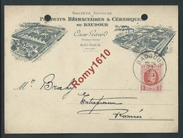 BAUDOUR. S.A. Produits Refractaires & Céramiques. Oscar Gérard. 1923. Scan Recto/verso. - Saint-Ghislain