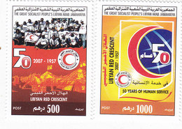 Libya 2007, Red Cresent Set Of 2 Stamps, High Values - MNH Cpl.l. Reduced Price - SKRILL PAYMENT ONLY - Libië