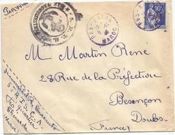 PAIX 90C FM LETTRE CACHET BLEU FES BATNA 5.11.1946 MAROC + 5RTS LE VAGUEMESTRE - Marokko (1891-1956)