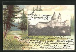 Passepartout-Lithographie Melk A. D., Blick Zur Klosterkirche - Österreich