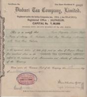 India  1947  Share Certifiate  Diabari Tea Company Ltd.  Jalpaiguri Assam   # 114784  D  Inde Indien - Industry
