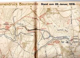 CARTE ETAT MAJOR ALLEMAND Janv 1918 Region BOUCONVILLE  .AILLES   POSITION DES TROUPES Guerre 14.18 - Documenti