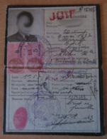 """France - Rare Carte D'identité D'un étudiant De Marseille Avec Mention """"Juif"""" Au Tampon Datée De 1943 + Timbres Fiscaux - Documents Historiques"""