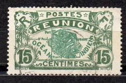 Reunion 1922-26 Carte De L'ile  15c Vert-gris Et Vert  N° YT 87 - Réunion (1852-1975)