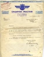 CHAMPION TRACTEUR - Service Commercial, Rue De Dunkerque PARIS Xè - Lettre De 1955 - Tracteurs