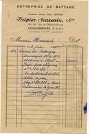 77 COULOMMIERS - Entreprise De Battage TRIPIER-SARRAZIN (anc. Julien PERNOT), 19 Av. De La République - Facture De 1955 - Coulommiers