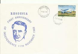 RHODESIA , SOBRE ANIVERSARIO INDEPENDENCIA - Postzegels
