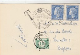 Oblitération Clervaux  2 X 10c , Avec Timbre Taxe 10 C Belgique Et Oblitération Bruxelles , ( Luxembourg ) - Marcophilie