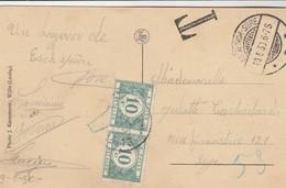 Oblitération Esch S/Sûre Sans Timbre Luxembourg , Avec 2 Timbres Taxe 10 C Belgique ,( Notre Dame Des Roches ) - Marcophilie