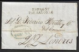 1827 PREFILATELIA - CARTA CORUÑA A LONDRES - PAR BAYONNE Marca Azul GALICIA / CORUÑA, P.E.10 - Espagne