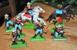 Rare Lot De 6 Cow-boys +1 Cavalier+1 Cheval Marque Britains Deetails 1971 - Figurines