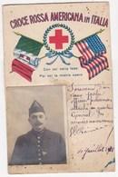 CARTE PATRIOTIQUE CROCE ROSSA AMERICANA IN ITALIE POILU OFFICIER POLICEMAN 1918 219 ARTILLERIE SOUPPES - Patriotiques