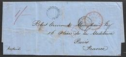 1858 ENTIRE - LONDON THROGMORTON ST.to PARIS Over CALAIS - PREPAID - Poststempel